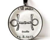Dictionary Illustration Pendant of Snaffle from Vintage, in Glass Tile Circle