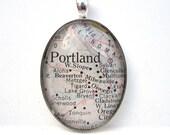 Vintage Map Pendant of Portland, Oregon, in Large Glass Tile Oval
