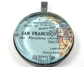 Vintage Map Pendant of San Francisco, California, in Glass Tile Circle
