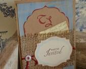 VINTAGE style french inspired BURLAP wedding INVITATIONS