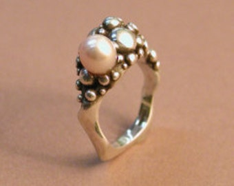 "Silver and pearl ring: ""my Favorite Ring"""
