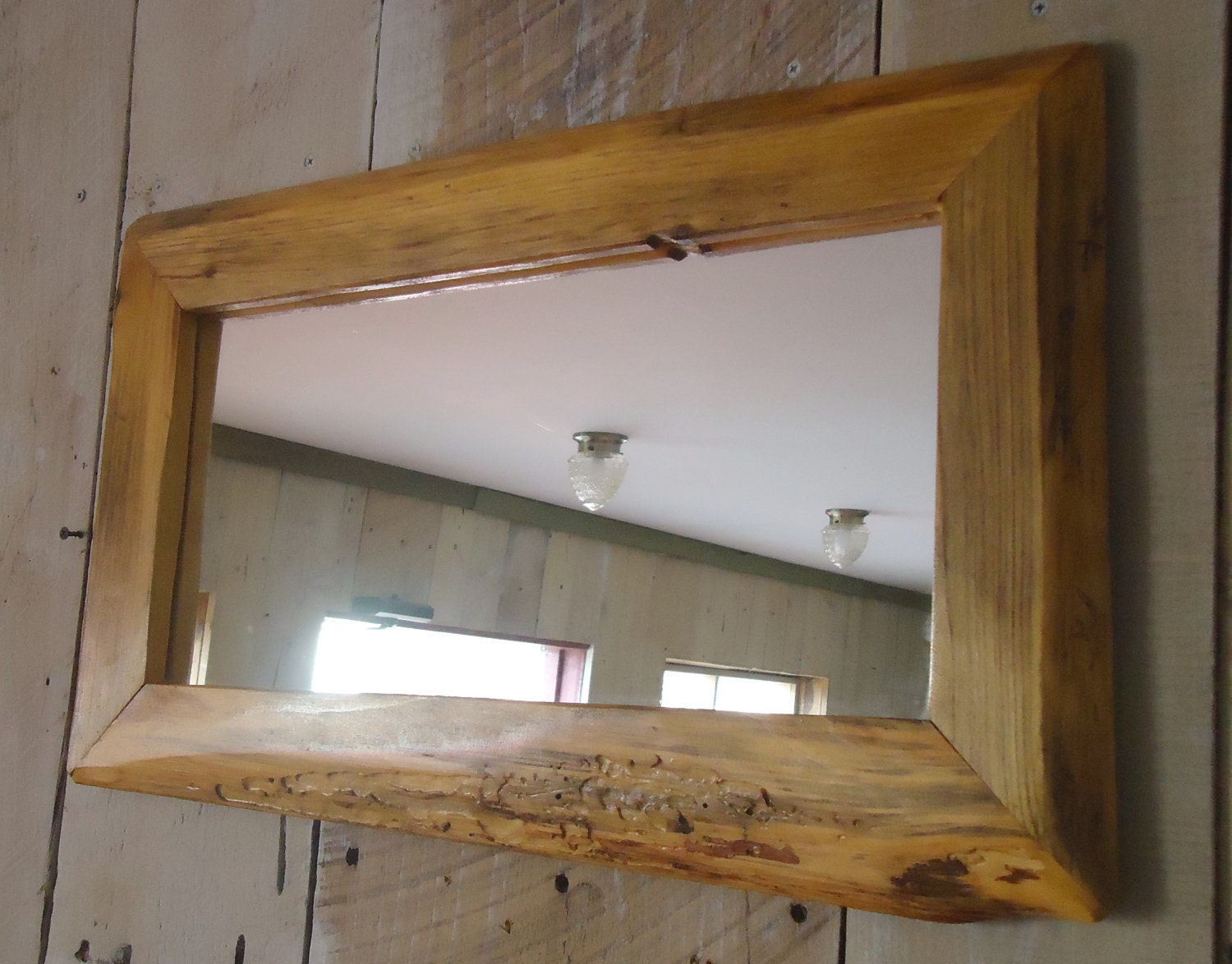 Handmade rustic wood mirror clear poly 23 x 14 39 for Rustic mirror