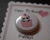 Panda Birthday button, 1 inch pin, card, pinback button, sweet party favor by TLGBUTTONS on Etsy