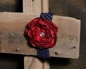 Dark Red Flower on Navy Headband