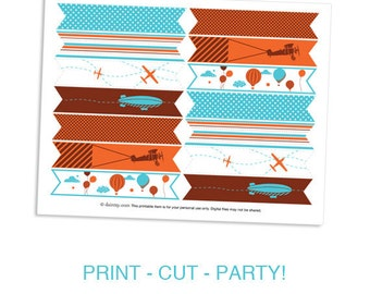 Cupcake Flag Toppers - Come Fly with Me Boys Birthday Party Transportation Airplane Theme by daintzy