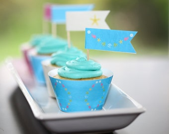 Instant Download: Cupcake Flag Toppers Printable DIY PDF - Under the Sea Birthday Party Aquarium Beach Theme by daintzy