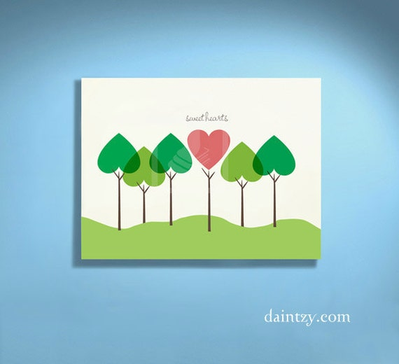 Forest of Love Hearts Printable Personalized Valentine's Day Art - Perfect Gift for Your Sweetheart by Daintzy