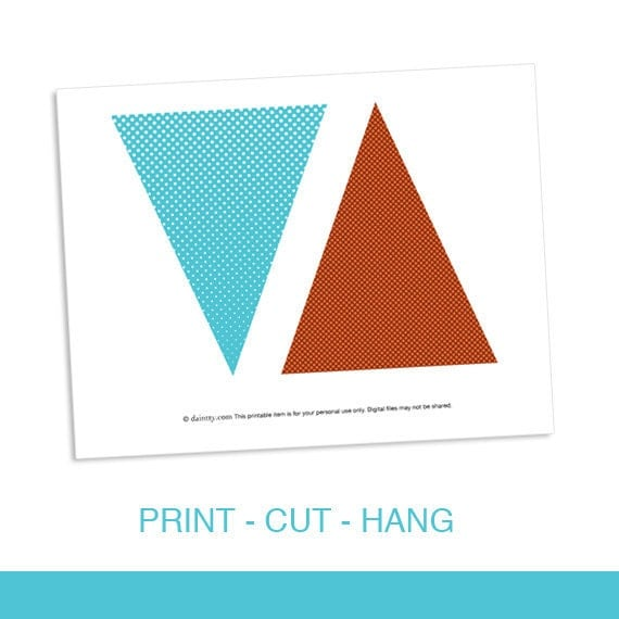 Triangle Banner Dots Printable DIY PDF Come Fly With By
