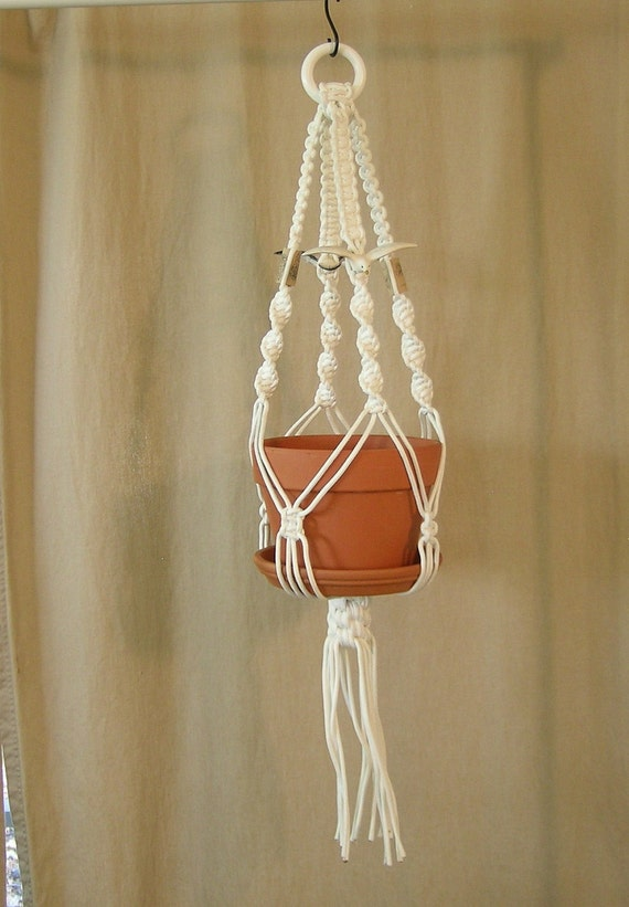 Macrame Plant Hanger with wine bottle corks and ceramic seagulls