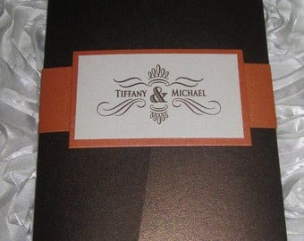 Autumn Wedding Invitation, Fall Wedding Invitation, Orange and Brown Wedding Invitation