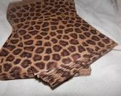100 Pack Leopard Print Merchandise Bags, Paper Bags, Gift Bags 6x9 Animal Print Bags Lot of 100