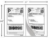 100 Half-Page SHIPPING Labels -  50 Sheets Shipping Labels for Stamps.com, Paypal Shipping, USPS, Fedex, or UPS Mailing Lables