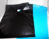 100 pack  Black and Teal Blue Glossy Retail Merchandise bags  Low Density Plastic Merchandise Gift Bags 9 x 12