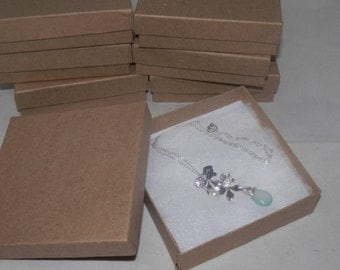 "100 Pack Kraft Presentation Boxes 3.5""x3.5""x1"" Cotton filled gift and Retail Jewelry Boxes"