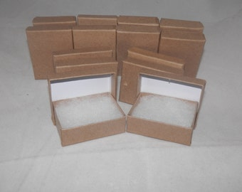"""Presentation Display Kraft Jewelry Boxes Lot of 20 Kraft Cotton Filled Retail Jewelry Gift Boxes Size 3.25"""" X 2.25"""" x1"""