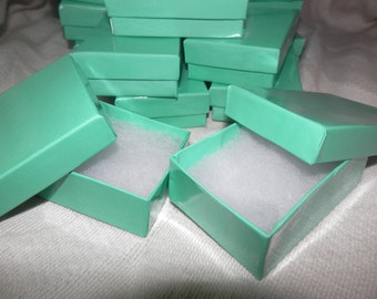 "20 Beautiful Teal Cotton Filled Jewelry  Presentation Gift Boxes 3.25"" X 2.25"" X 1"" Cotton Filled"
