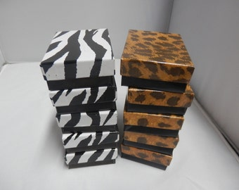 Jewelry Presentation Boxes, 5 Leopard, 5 Zebra, Cotton filled Gift Boxes, Display Boxes size 3.25x2.25