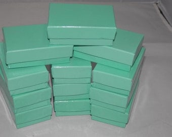50 Teal Jewelry Boxes, Cotton filled presentation gift boxes,Display Boxes 2.5x1.5