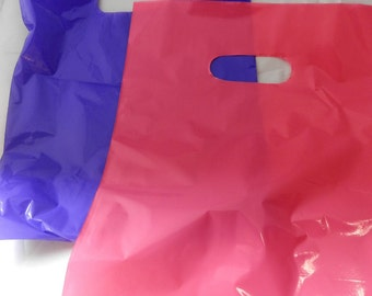 100 pack 9 x 12 Hot Pink and Purple Glossy Retail Merchandise bags  Low Density Plastic Merchandise Gift Bags