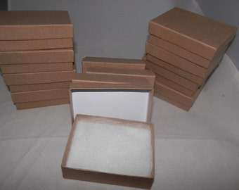 10 pack of 3.25x2.25 Kraft Jewelry Presentation Gift Boxes, Retail Display Cotton Filled Boxes