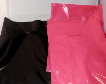 100 pack  Black and Hot Pink Glossy Retail Merchandise bags  Low Density Plastic Merchandise Gift Bags 9 x 12
