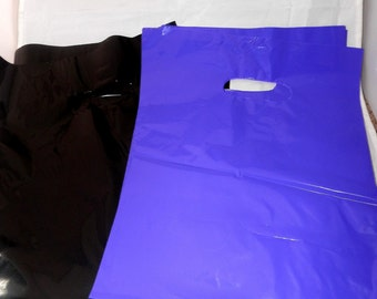 100 pack  Black and Purple Glossy Retail Merchandise bags  Low Density Plastic Merchandise Gift Bags 9 x 12