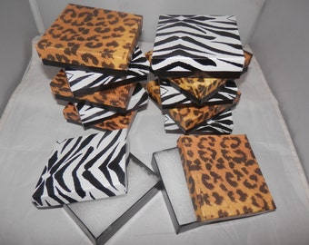 20 pack 3.5x3.5 Leopard and Zebra Print Jewelry Presentation Gift Boxes  Cotton Filled Retail Boxes