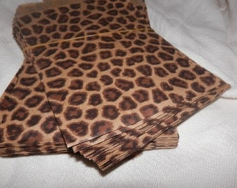 100 Pack Leopard Print Merchandise Bags, Paper Bags, Gift Bags 6x9 Animal Print Bags Lot of 100