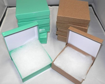 20 Teal and  Kraft  Cotton Filled Jewelry Presentation Retail Display Cotton Filled Gift Boxes, 3.5x3.5