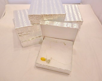 50 Silver size 3.5x3.5 Cotton Filled Jewelry Presentation Retail Display Gift Boxes