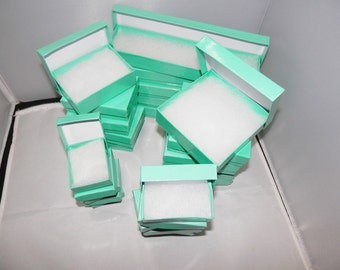Lot of 100 Assorted Size, Teal Cotton filled Jewelry Gift  Boxes, Retail Boxes, Presentation, Favor