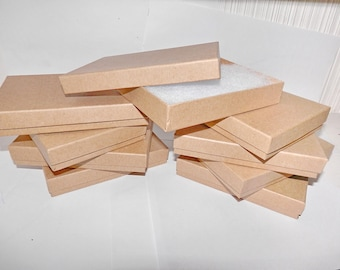 100 Pack of Presentation Display Gift Boxes  Kraft Cotton Filled  Jewelry Boxes  size 5.5x3.5