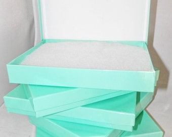 "10 Pack of Large Glossy Teal Cotton Filled Jewelry Presentation Gift Boxes, Display Boxes size 7 1/8"" x 5 1/8"" x1 1/8"" tall"