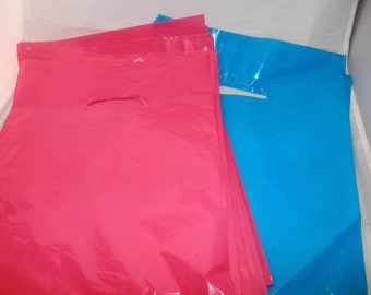 100 pack 9 x 12 Hot Pink and Teal Blue Glossy Retail Merchandise bags  Low Density Plastic Merchandise Gift Bags