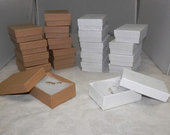 20 Kraft and White Retail Presentation Gift Jewelry Boxes size 3.25X2.25 Cotton Filled