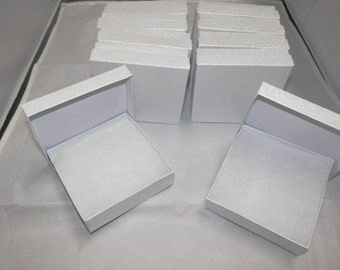 50 White Swirl Presentation Boxes Cotton Filled Jewelry  Gift Boxes Display Box 3.5x3.5