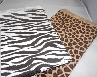 50 Pack,  25 Each of 6x9 Zebra and Leopard  Print Retail Merchandise Bags, Paper Bags, Gift Bags , Party Favor Animal Print Bags