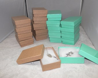 Jewelry Boxes 20 Kraft and Glossy Teal Gift and Display Cotton filled Presentation Boxes size 3.25X2.25