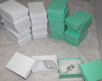 Teal and Swirl White cotton filled jewelry Presentation boxes size 3.25X2.25 lot of 20