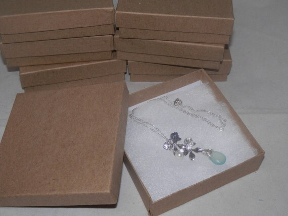 """Kraft  3.5""""x3.5""""x1"""" Cotton filled, Presentation,  Jewelry Gift, Retail Boxes lot of 20"""