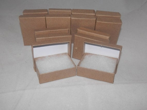 "Presentation Display Kraft Jewelry Boxes Lot of 20 Kraft Cotton Filled Retail Jewelry Gift Boxes Size 3.25"" X 2.25"" x1"
