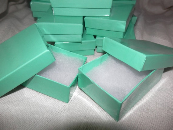 """20 Beautiful Teal Cotton Filled Jewelry  Presentation Gift Boxes 3.25"""" X 2.25"""" X 1"""" Cotton Filled"""