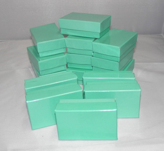 20 Teal Jewelry Boxes, Cotton filled presentation gift boxes,Display Boxes 2.5x1.5