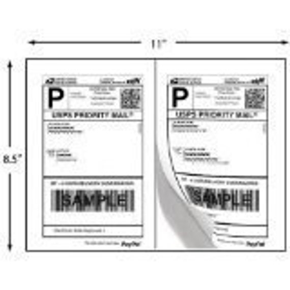200 SHIPPING Labels -  100 Sheets for Stamps.com, Paypal Shipping, USPS, Fedex, or UPS Mailing 200 Half-Page Shipping Labels