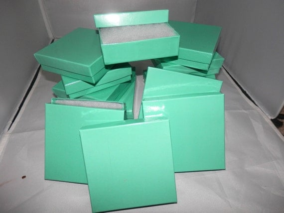 """pack of 100 3.5""""x3.5""""x1"""" TEAL Cotton filled Jewelry Presentation Display Gift Boxes"""