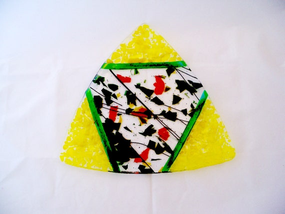 Yellow is Fun Fused Glass Triangle Serving Platter 4002