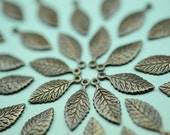 4 delicate detailed leaf charms in Black Brass -   brass findings for jewelry Box 116