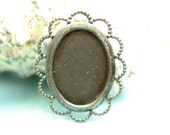 2 cameo setting 25x18 lace edge  in Black Brass -  finding for jewelry Box 141
