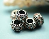 5 large hole beads - rhinestones - peach - antique silver beads - large hole beads -  finding for jewelry Box 332 F