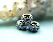 3 large hole beads - rhinestones - blue - antique silver beads - large hole beads -  finding for jewelry Box 332 B